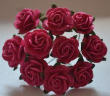 1.5cm FUSCHIA PINK Mulberry Paper Roses
